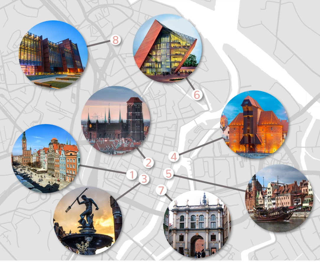 top 10 attractions in Warsaw on greyscale simple map